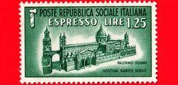 Nuovo - ITALIA - Rep. Sociale - 1944 - Monumenti Distrutti - ESPRESSO - 1,25 L. • Duomo Di Palermo - 4. 1944-45 Repubblica Sociale