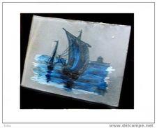 Belle Miniature Marine Sur Verre Fin XIXème Deb XXème Signée PM ? - Décoration Maritime