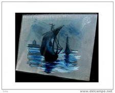 Belle Miniature Marine Sur Verre Fin XIXème Deb XXème Signée PM ? II - Decoración Maritima
