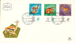 Israel FDC Jerusalem 27-12-1967 Complete Set Of 3 Animals With Cachet - FDC