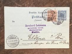 E12  Deutsches Reich Germany Allemagne Ganzsache Stationery Entier Postal P 46bA Von Stettin Nach Eldena - Deutschland