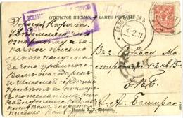 Violet Boxed Handstamp CENSOR? On Postcard To Odessa 4.2.1917 - 1917-1923 República & República Soviética