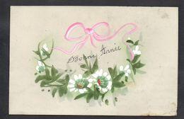 CPA FANTAISIE CELLULOID CELLULOIDE - Art Nouveau - 1917 - Peinte à La Main - Fleurs Ruban - Bonne Année -#539 - New Year