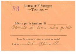 TORINO ARSENALE REGIO ESERCITO 1936 BUSTA - Altri
