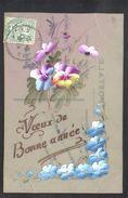 JOLIE CPA FANTAISIE CELLULOID CELLULOIDE DOREE OR - Art Nouveau Art Déco - Peinte à La Main - Fleurs - Bonne Année -#542 - New Year