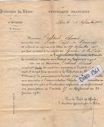 VP11.562 - LYON 1921 - Police - Lettre De La Préfecture Du Rhône  Concernant Mr THIEBAUD Aux DEUX FAYS - Police & Gendarmerie