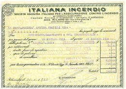 POLIZZA ASSICURAZIONE ITALIANA INCENDIO 1933 - Azioni & Titoli