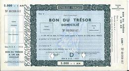 REPUBLIQUE FRANCAISE - BON DU TRESOR DOMICILIE 5000 FRANCS NEUF - 1953 - Autres