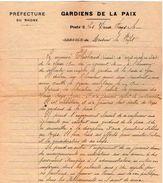 VP11.563 - LYON 1921- Police Gardiens De La Paix - Lettre De La Préfecture Du Rhône Concernant Mr THIEBAUD Aux DEUX FAYS - Police & Gendarmerie