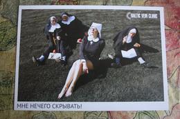 ADVERTISING (Baltic Vein Clinic) - érotique  -  Nun - Nonne - Pin Up - Pretty Legs - Pin-Ups