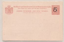 Nederlands Indië - 1908 - 5+5 Cent Opdruk Op 7,5+7,5 Cent Cijfer, Briefkaart G19a, Ongebruikt - H&G 20 - Nederlands-Indië