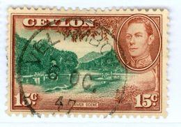 CEYLON, BRITISH COMM., PAESAGGI, LANDSCAPES, RE GIORGIO VI, 1942, FRANCOBOLLI USATI Yvert Tellier 253   Scott 279 - Ceylan (...-1947)