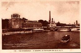 EXPOSITION INTERNATIONALE PARIS 1937 VUE D'ENSEMBLE A GAUCHE LE PAVILLON DE LA C.G.T. - Exposiciones