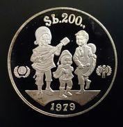"BOLIVIA 200 PESOS BOLIVIANOS 1979 SILVER PROOF ""International Year Of The Child"" Free Shipping Via Registered Air Mail - Bolivia"