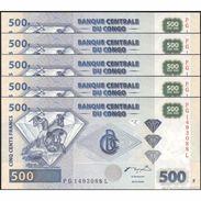 TWN - CONGO DEM. REP. 96A - 500 Francs 4.1.2002 DEALERS LOT X 5 PG-L (HdM) UNC - Congo