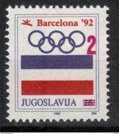 Yugoslavia,For SOG-Barcelona '92 1992.,MNH - 1992-2003 République Fédérale De Yougoslavie