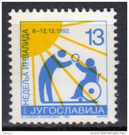 Yugoslavia,For Disabled Persons 1992.,MNH - 1992-2003 République Fédérale De Yougoslavie