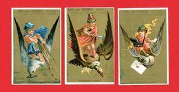 Eau Des Carmes Boyer, Lot De 3 Chromos, Lith. Aubry, Enfants & Oiseaux, Deux Coupe-jarrets, Messagers Fidèles, Pêcheurs - Chromos