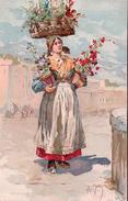 Alberto Della Valle, Italie, Venditrice Di Fiori, Litho (437) - Altre Illustrazioni