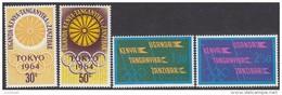 KENYA, 1964 OLYMPIC GAMES 4 MNH - Kenya (1963-...)