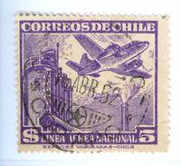 CILE, CHILE, POSTA AEREA, AIRMAIL, 1951, FRANCOBOLLI USATI Yvert Tellier PA147… Scott C162 - Cile