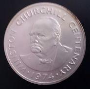 "Turks And Caicos Islands 20 CROWNS 1974 SILVER UNC ""Centenary - Birth Of Winston Churchill"" Free Shipping - Turks En Caicoseilanden"