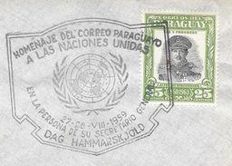 HOMENAJE DEL CORREO PARAGUAYO A LAS NACIONES UNIDAS EN LA PERSONA DE SU SECRETARIO GENERAL DAG HAMMARSKJOLD TIMBRE DEL P - Paraguay