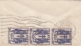 TRES PETITE LETTRE. 1940.  ST ETIENNE POUR CHAMBON-FEUGEROLLES. CHAINE 50c X 3 - Marcophilie (Lettres)
