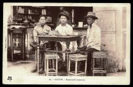 CPA ANCIENNE INDOCHINE- SAÏGON- RESTAURANT ANAMITE TRES GROS PLAN- BELLE ANIMATION- - Vietnam