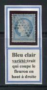 FRANCE- Y&T N°60A Oblitéré- Bleu Clair- Avec Variété, Trait Sur Fleuron Supérieur Droit - 1871-1875 Ceres