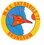 Sticker Brunssum 1977 MVC SKY DEVILS Autocollant Vliegtuig Avion Airplane Flugzeug Militair Militaire - Luchtvaart