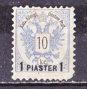 Austria- Levante-1888 1 Piaster  Su 10 Kr Outremer Nuovo MLH - Eastern Austria