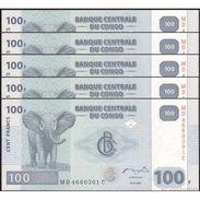TWN - CONGO DEM. REP. 98a - 100 Francs 31.7.2007 DEALERS LOT X 5 MD-C (HdM) UNC - Congo