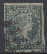 Antillas U 01 (o) Isabel II. 1855. Filigrana Lazos. - Cuba (1874-1898)
