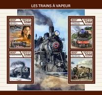 CHAD 2017 ** Steam Trains Dampfeisenbahnen Trains A Vapeur M/S - IMPERFORATED - DH1746 - Eisenbahnen