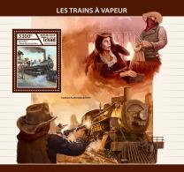 CHAD 2017 ** Steam Trains Dampfeisenbahnen Trains A Vapeur S/S - IMPERFORATED - DH1746 - Eisenbahnen
