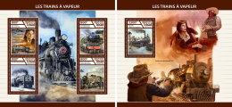 CHAD 2017 ** Steam Trains Dampfeisenbahnen Trains A Vapeur M/S+S/S - IMPERFORATED - DH1746 - Eisenbahnen