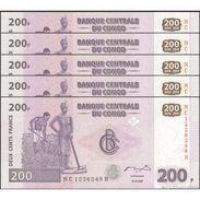 TWN - CONGO DEM. REP. 99A - 200 Francs 31.7.2007 DEALERS LOT X 5 NC-H (HdM) UNC - Congo