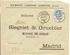 Schweiz, 1903, Brief,  Azmoos Nach Madrid, Mit 87A, Siehe Scans! - Covers & Documents