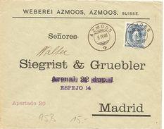 Schweiz, 1903, Brief,  Azmoos Nach Spanien, Mit 95B, Siehe Scans! - Covers & Documents