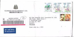 Hong Kong Registered Airmail 1999 Tsing Ma Bridge 10 HK$, Aw Boon Haw Gardens 5 HK$, 2002 Hong Kong Definitive Stamps - 1997-... Chinese Admnistrative Region