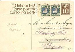 Schweiz, 1931, Antwort-Postkarte, Mit Pro Juventute, London Nach Parpan, Selten! Siehe Scans! - Briefe U. Dokumente