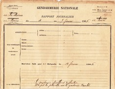 LOIVRE - Gendarmerie Nationale - Rapport Journalier Du 4 Au 5 Janvier 1906 - France