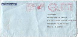 Hong Kong Aerogramme To Iowa, Postage Paid Stampless 1989 Airmail - Hong Kong (...-1997)