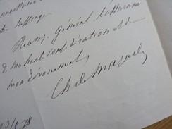 Charles DE MAZADE (1820-1893) Historien ACADEMIE FRANCAISE. Autographe - Autographes