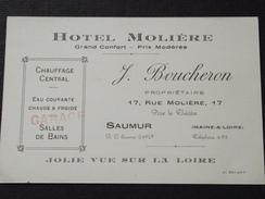 49 SAUMUR - Carte De Visite - HÔTEL MOLIERE - J. BOUCHERON - 17 Rue Molière - 12 Octobre 1917 - Au Dos, Notes  - A Voir! - Cartoncini Da Visita