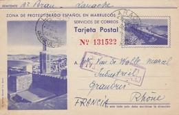 Tarjeta Postal Espanol-Marruecos Larache 1942 Censura Postal LARACHE To GRANDRIS France - Marruecos Español
