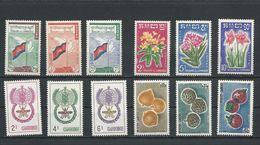 CAMBODGE Scott 88-90, 91-3, 106-108, 109-111 Yvert 98-100, 104-106, 119-121, 122-124 (12) ** Cote 11,25$ 1960-62 - Cambodge