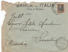 8877-BUSTA DI LETTERA DA MASSAUA(ERITREA) AFFRANCATA 50c. EFFIGE VITTORIO EMANUELE III ERITREA PER SEZZADIO(AL)-1932 - Eritrea