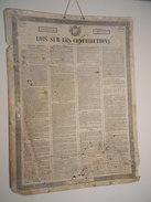 Affiche N° 10,  61 X 46 Cm  Tableaux Lois 1844 Lois Sur Les Contributions  Imprimerie Paul Dupont à Paris( Tachée ) - Affiches